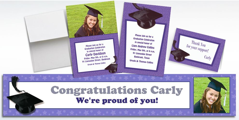 Custom Purple Graduation Invitations and Thank You Notes