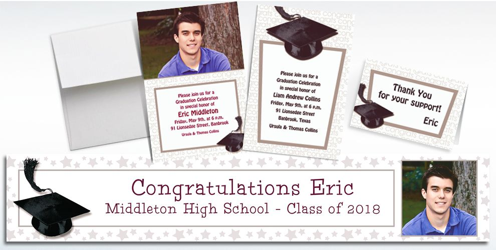 Custom White Graduation Invitations and Thank You Notes
