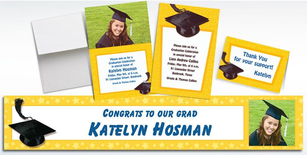 Custom Yellow Graduation Invitations and Thank You Notes