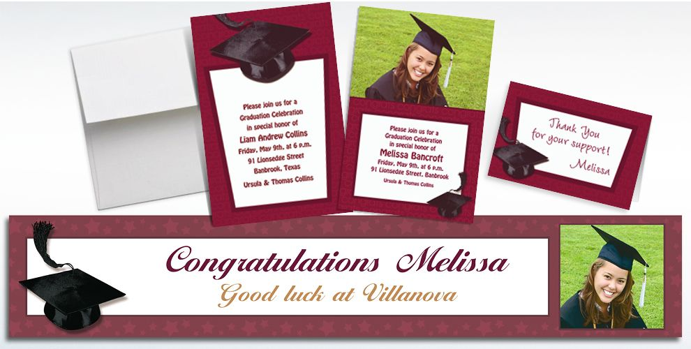Custom Berry Congrats Grad Photo Invitations and Thank You Notes