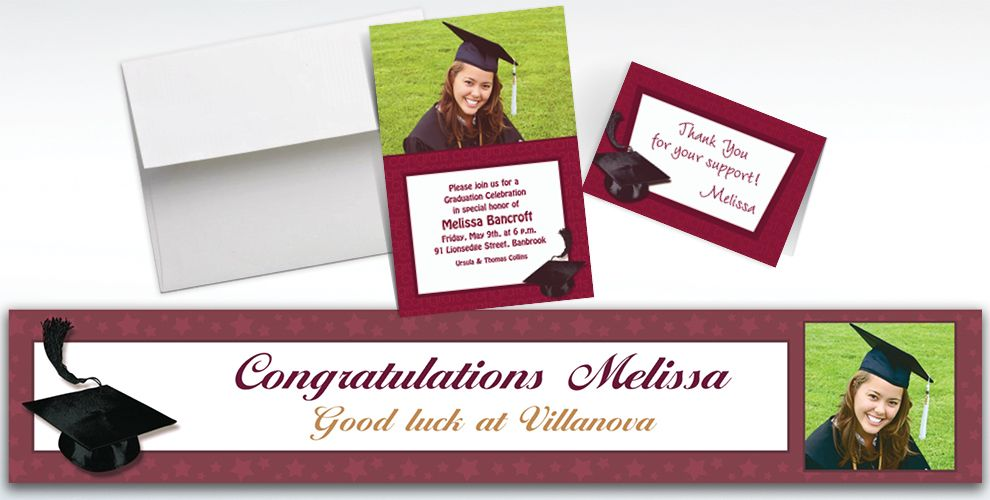 Custom Berry Graduation Invitations and Thank You Notes