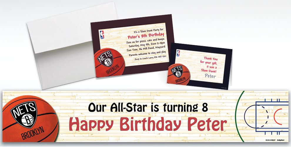 Custom Brooklyn Nets Invitations and Thank You Notes