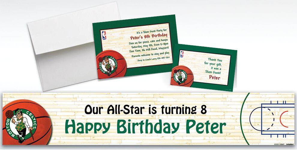 Custom Boston Celtics Invitations and Thank You Notes
