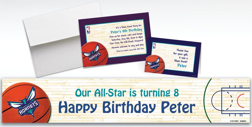 Custom Charlotte Hornets Invitations and Thank You Notes