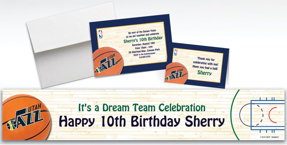 Custom Utah Jazz Invitations and Thank You Notes