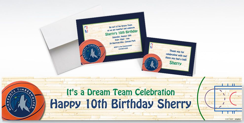 Custom Minnesota Timberwolves Invitations and Thank You Notes
