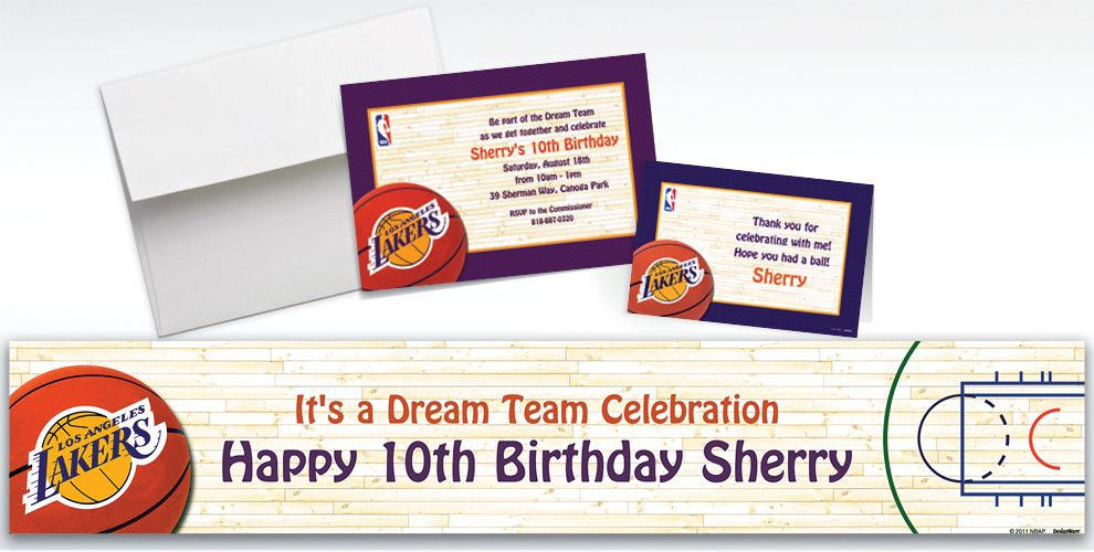 Custom Los Angeles Lakers Invitations and Thank You Notes