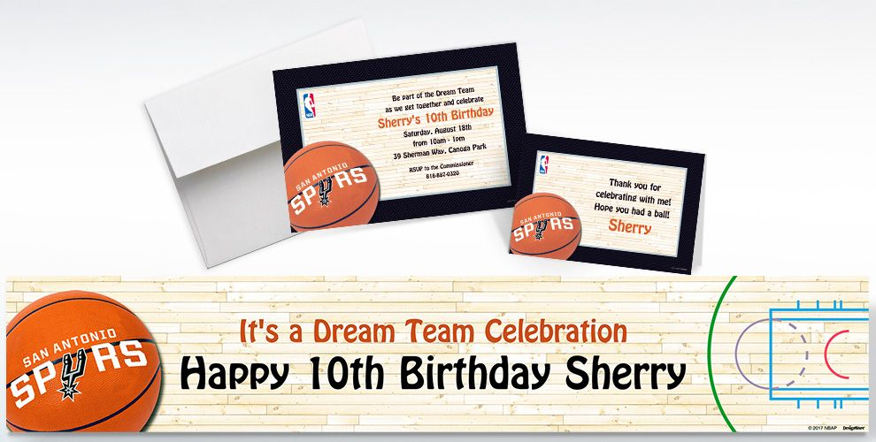 Custom San Antonio Spurs Invitations and Thank You Notes