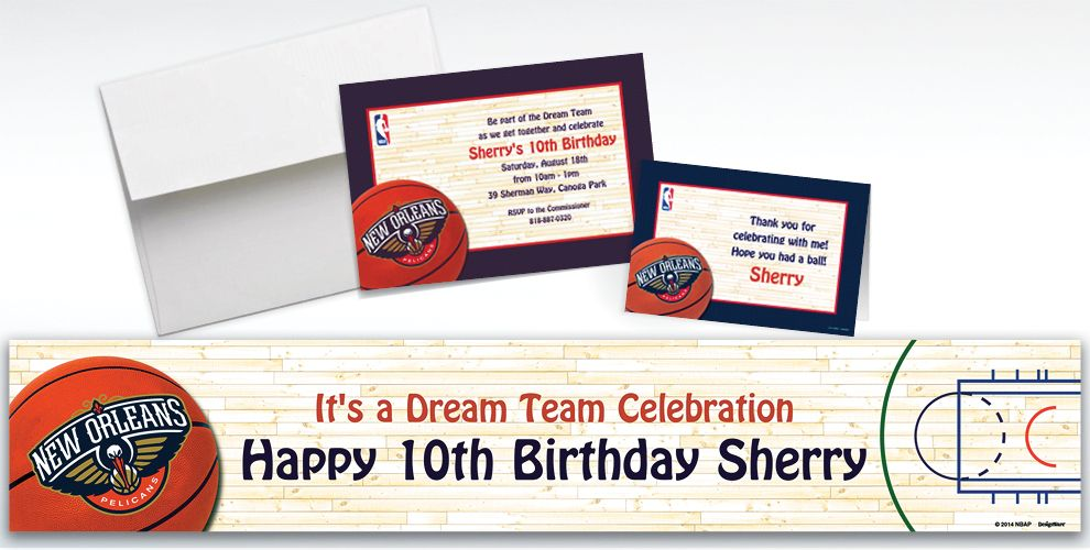 Custom New Orleans Pelicans Invitations and Thank You Notes