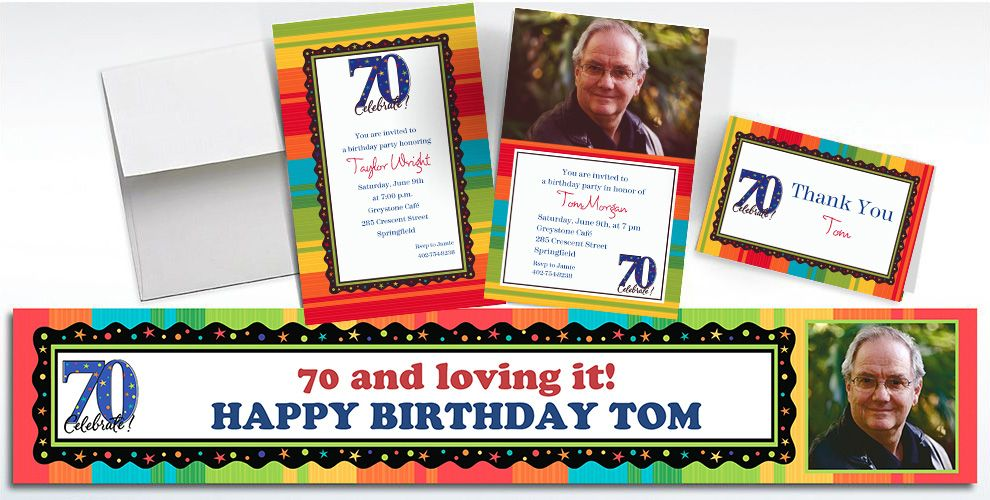 Custom A Year to Celebrate 70th Birthday Invitations