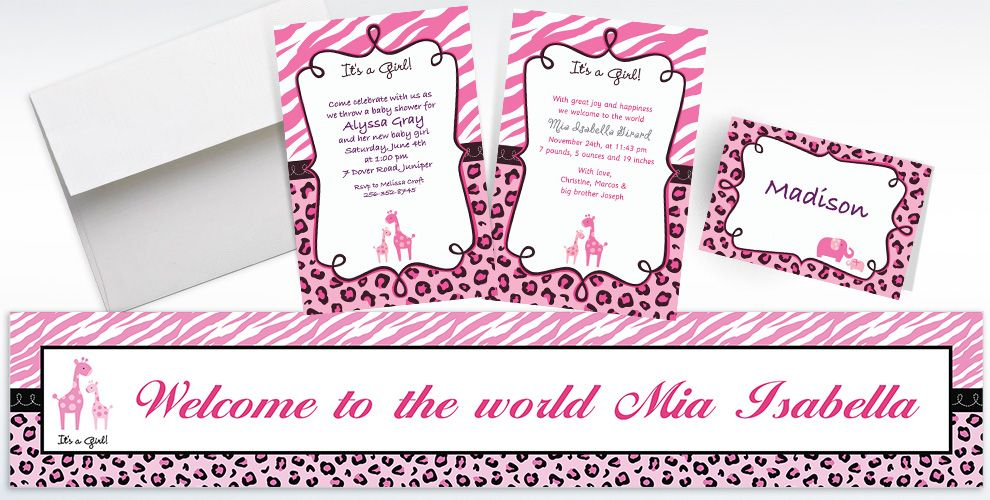 Custom Pink Safari Baby Shower Invitations and Thank You Notes