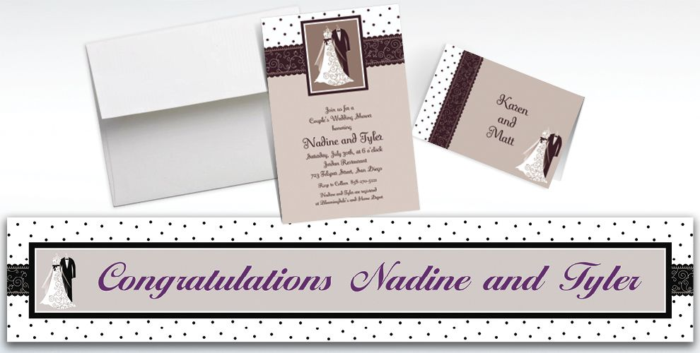 Custom Black and White Wedding Invitations and Thank You Notes