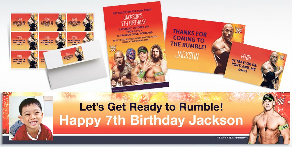 Custom WWE Invitations, Thank You Notes and Banners