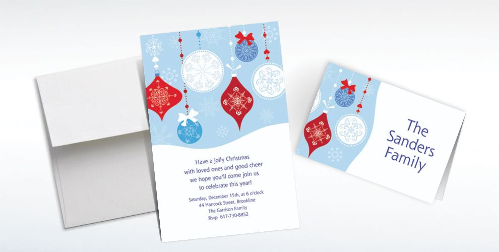 Custom Novel Ornaments Christmas Invitations and Thank You Notes