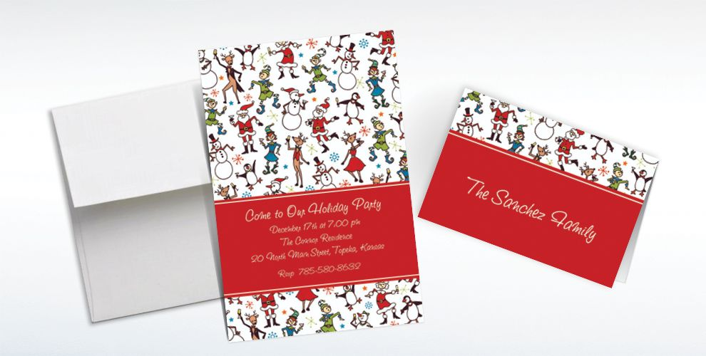 Custom Christmas Character Cocktails Invitations and Thank You Notes