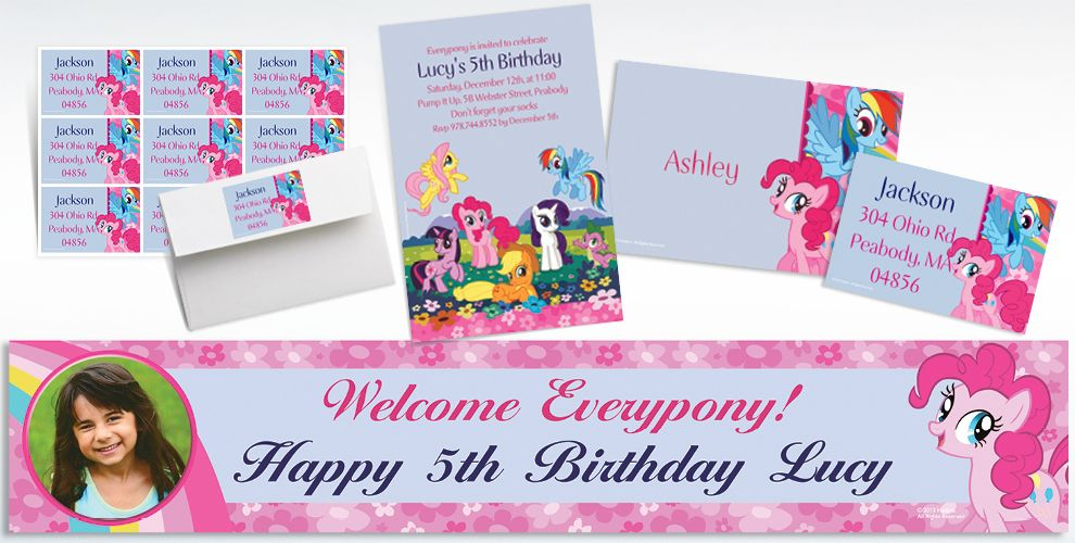 Custom My Little Pony Friends Invitations, Thank You Notes and Banners
