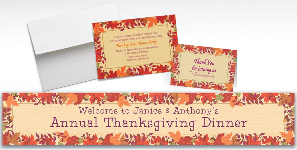 Custom Festive Fall Invitations and Thank You Notes