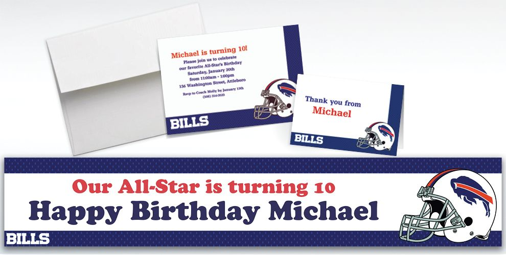 Custom Buffalo Bills Invitations and Thank You Notes