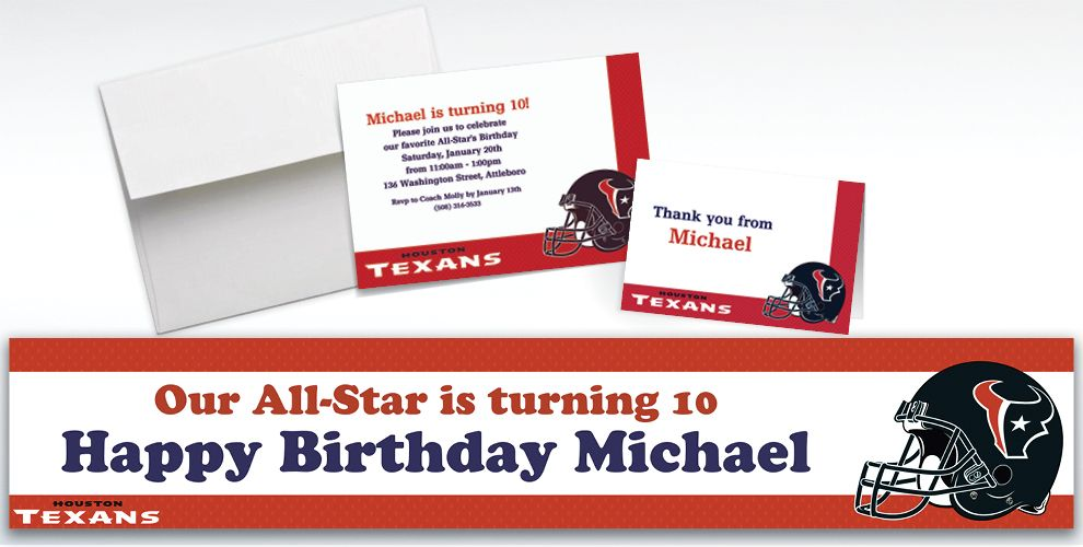 Custom Houston Texans Invitations and Thank You Notes