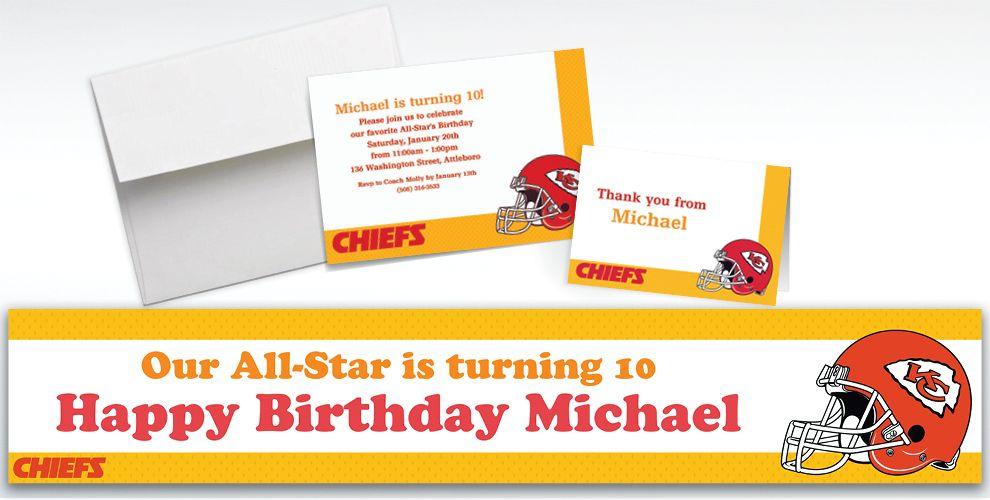 Custom Kansas City Chiefs Invitations and Thank You Notes