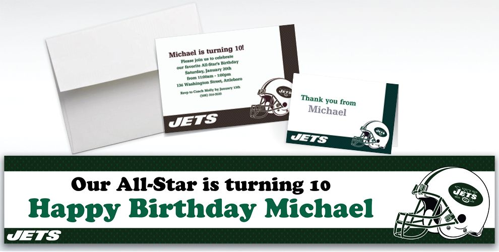 Custom New York Jets Invitations and Thank You Notes