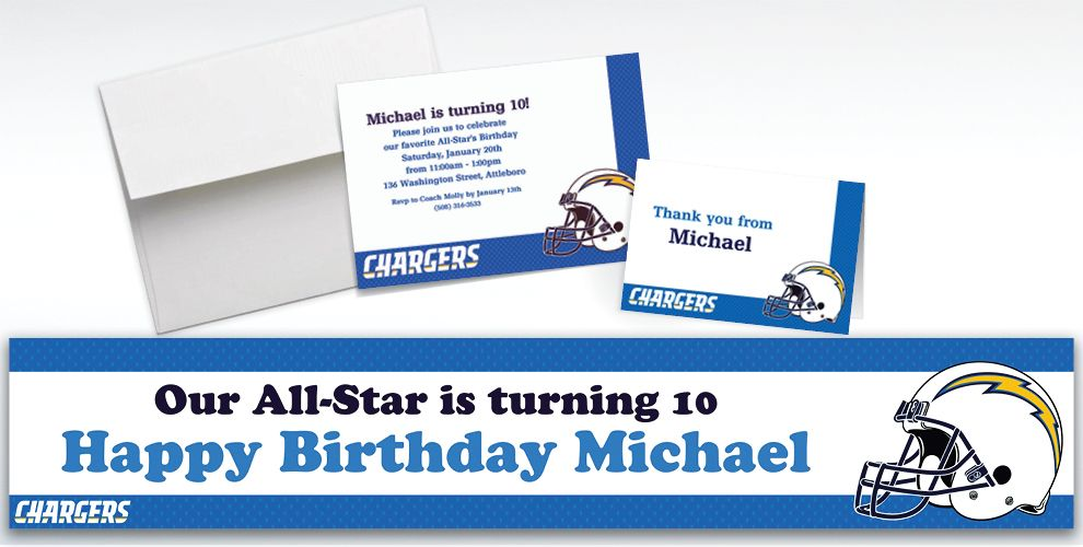 Custom San Diego Chargers Invitations and Thank You Notes