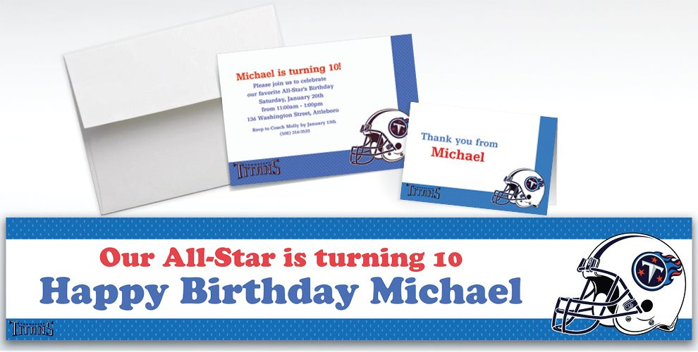 Custom Tennessee Titans Invitations and Thank You Notes
