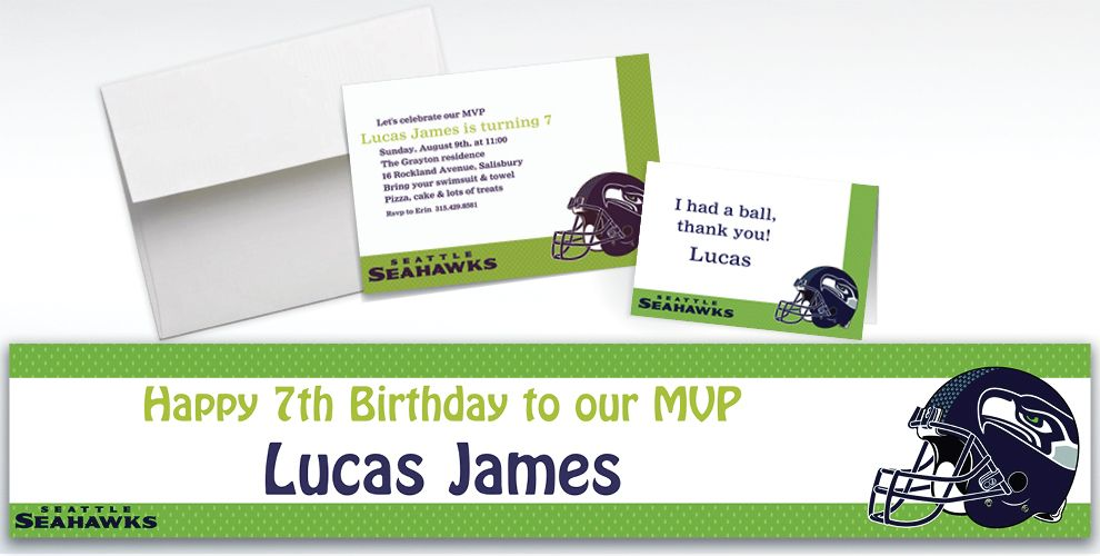 Custom Seattle Seahawks Invitations and Thank You Notes