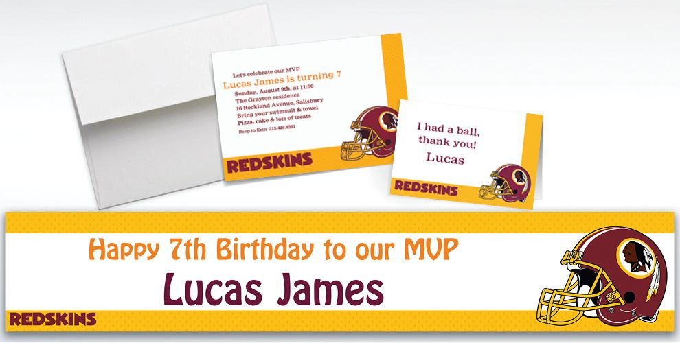 Custom Washington Redskins Invitations and Thank You Notes