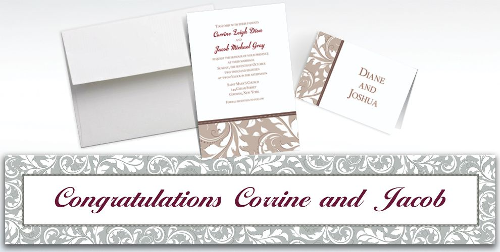 Custom Silver Wedding Invitations and Thank You Notes