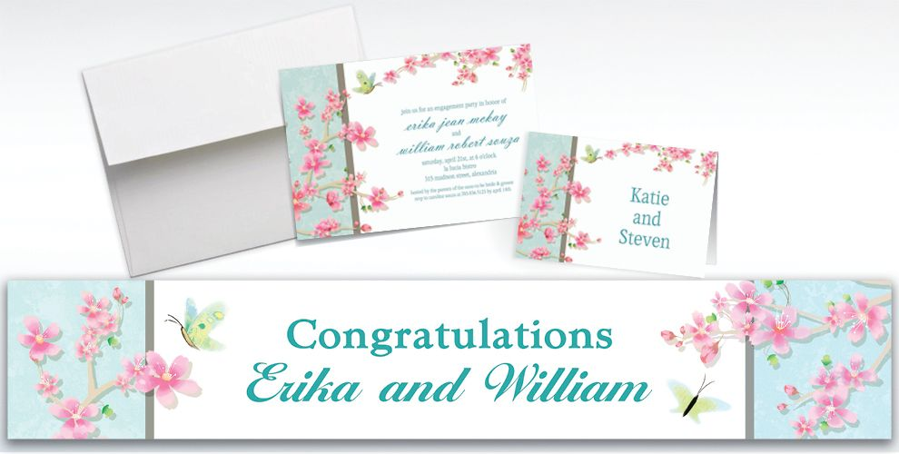 Custom Cherry Blossom Love Wedding Invitations and Thank You Notes