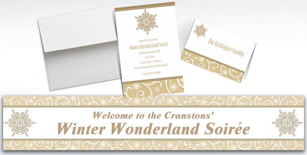 Custom Shimmering Snowflake Invitations and Thank You Notes