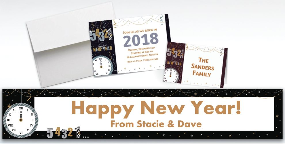 Custom Wild Countdown New Year's Invitations and Thank You Notes