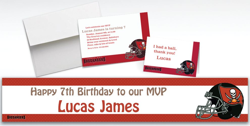 Custom Tampa Bay Buccaneers Invitations and Thank You Notes