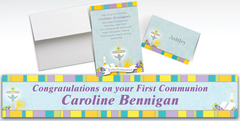 Custom Joyous Communion Invitations and Thank You Notes