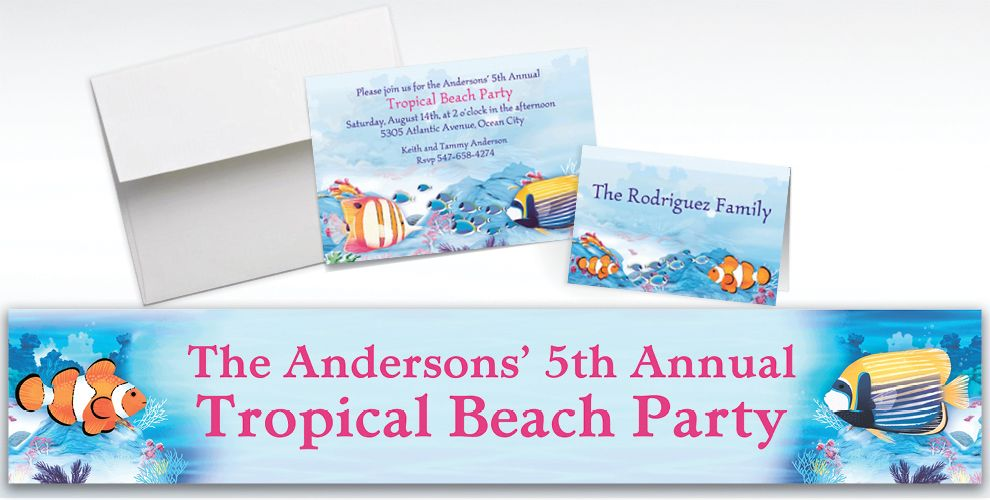 Custom Tropical Summer Invitations and Thank You Notes