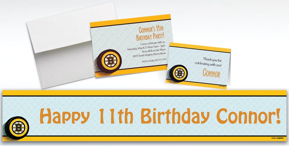 Custom Boston Bruins Invitations and Thank You Notes