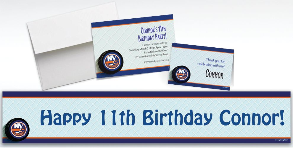 Custom New York Islanders Invitations and Thank You Notes
