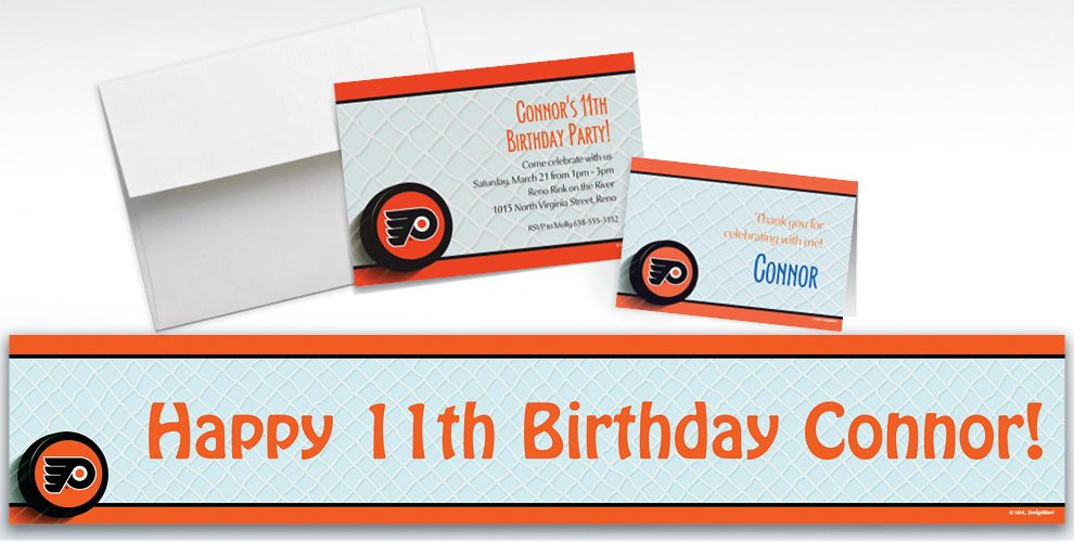 Custom Philadelphia Flyers Invitations and Thank You Notes