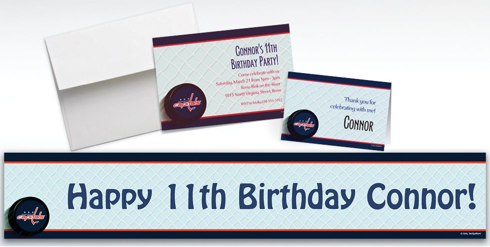 Custom Washington Capitals Invitations and Thank You Notes