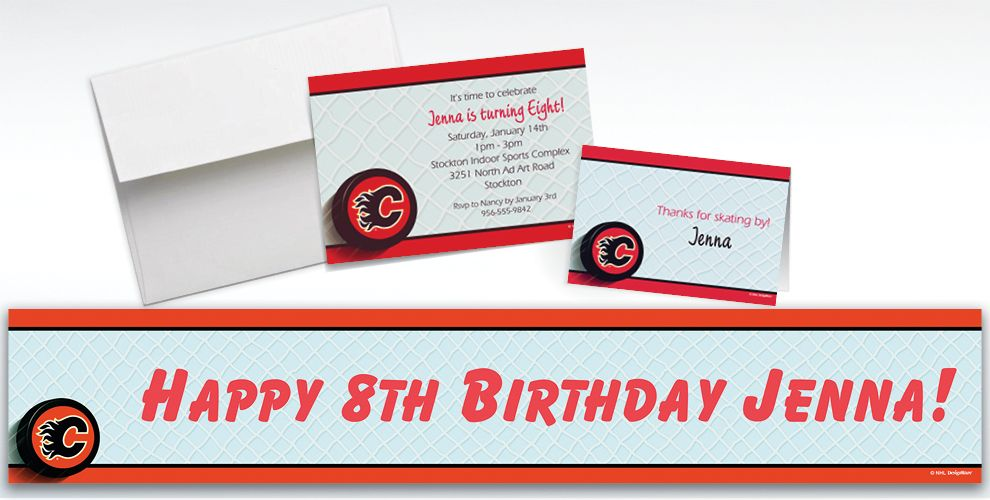 Custom Calgary Flames Invitations and Thank You Notes
