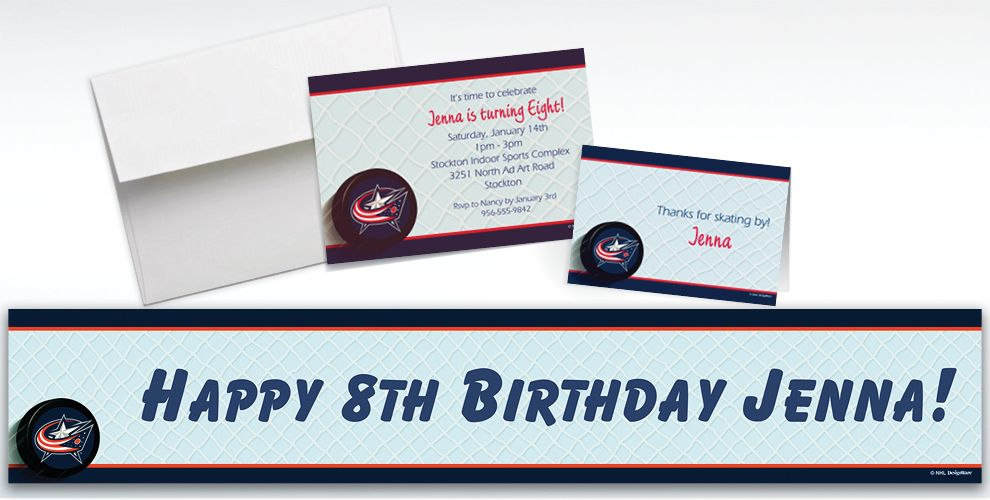 Custom Columbus Blue Jackets Invitations & Thank You Notes