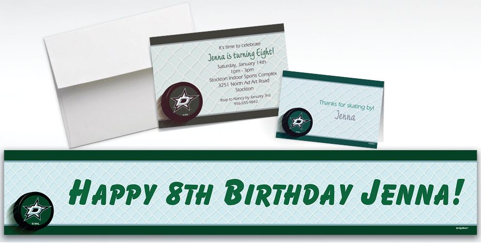 Custom Dallas Stars Invitations and Thank You Notes