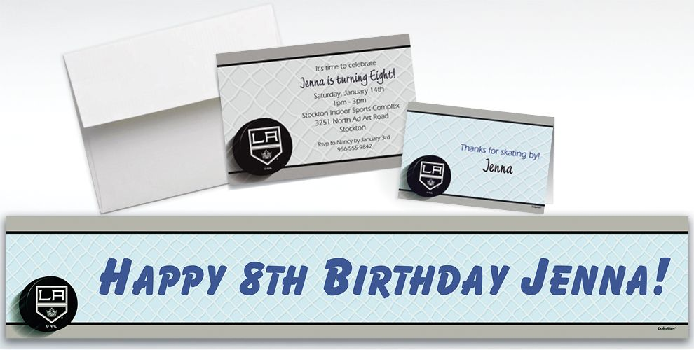 Custom Los Angeles Kings Invitations and Thank You Notes
