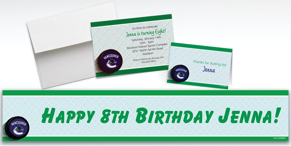 Custom Vancouver Canucks Invitations and Thank You Notes