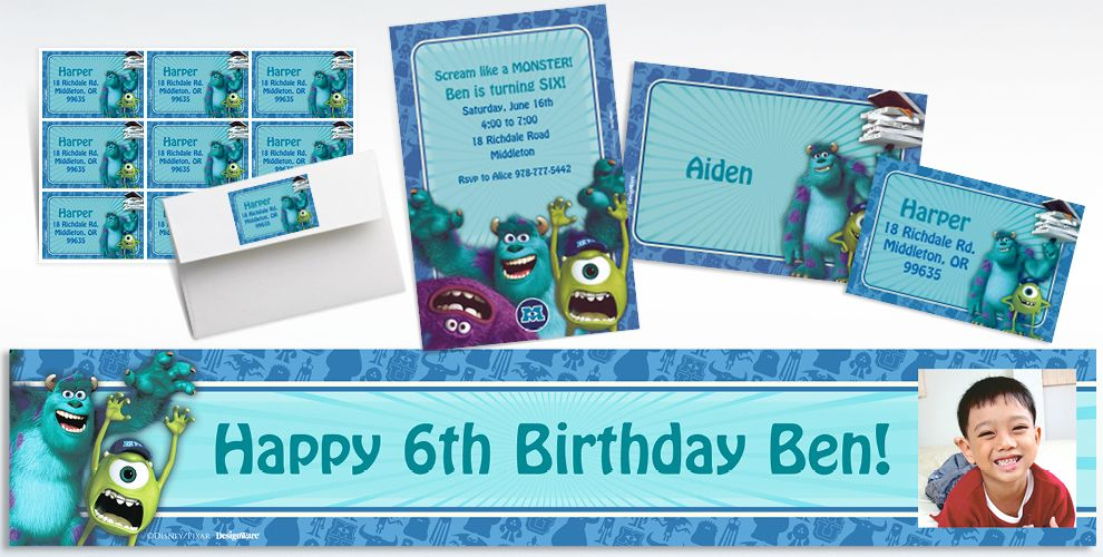 Custom Monsters University Invitations and Thank You Notes