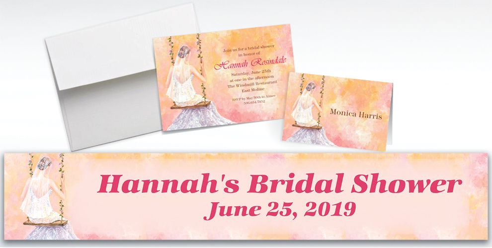 Custom Bridal Swing Bridal Shower Invitations and Thank You Notes