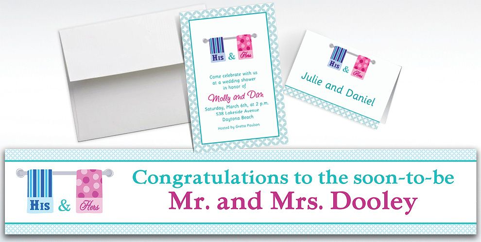 Custom His and Hers Towels Bridal Shower Invitations and Thank You Notes