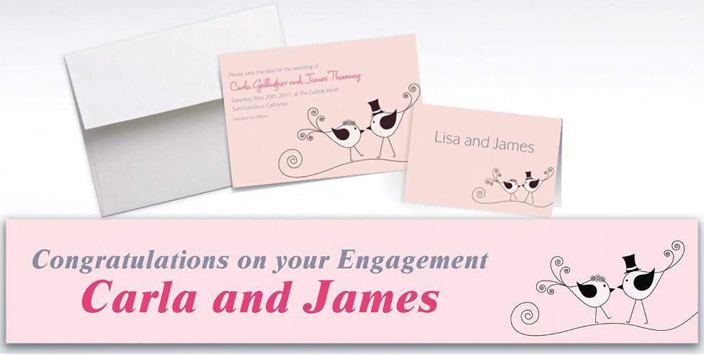Custom Love Birds Wedding Invitations and Thank You Notes