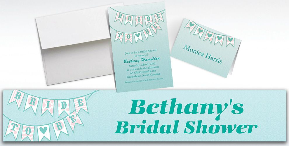 Custom Bride to Be Flags Bridal Shower Invitations and Thank You Notes